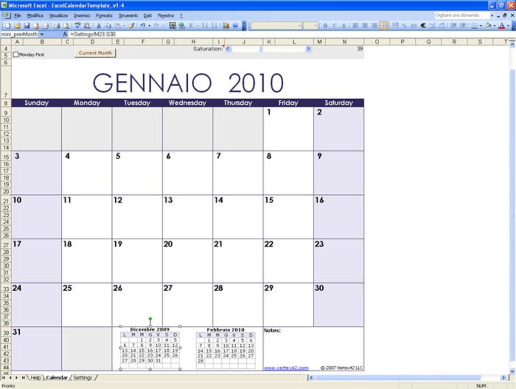 Imposta Calendario.Excel Calendar Template Download