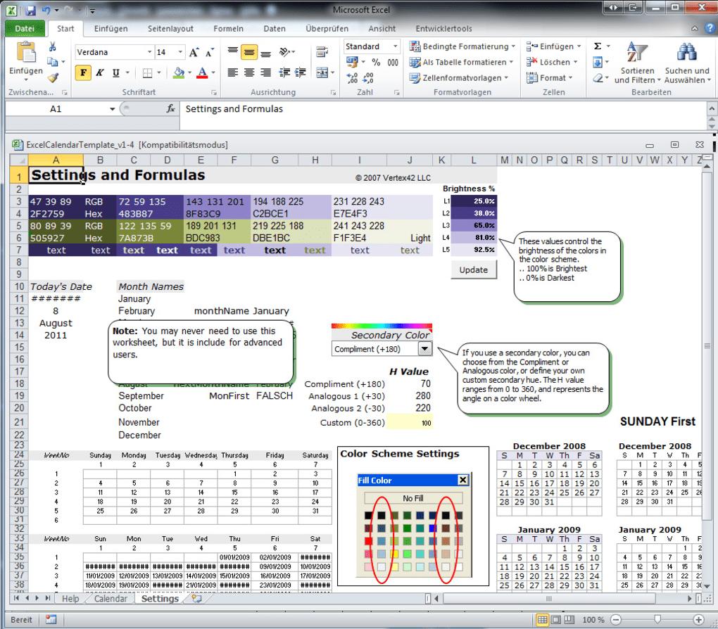 Excel Kalender Vorlage - Download