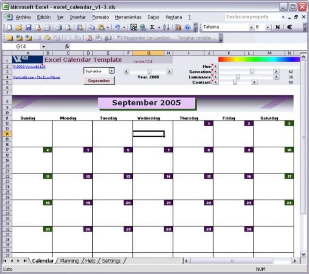 Excel Calendar Template - Descargar