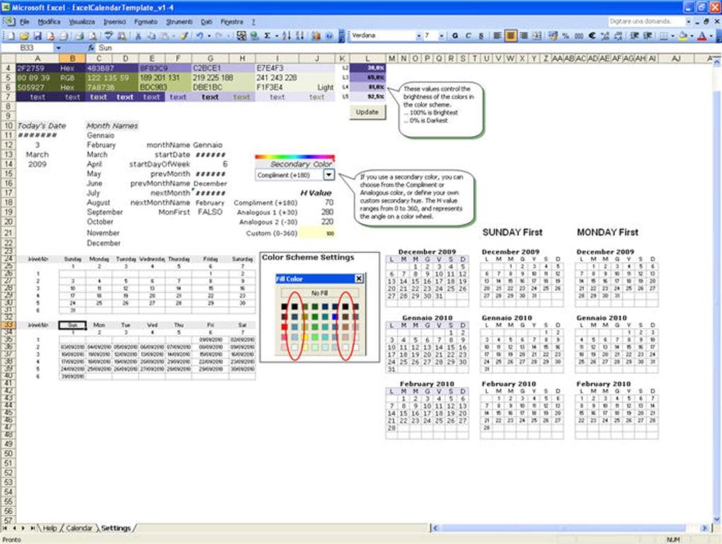 Calendario Appunti Da Stampare.Excel Calendar Template Download