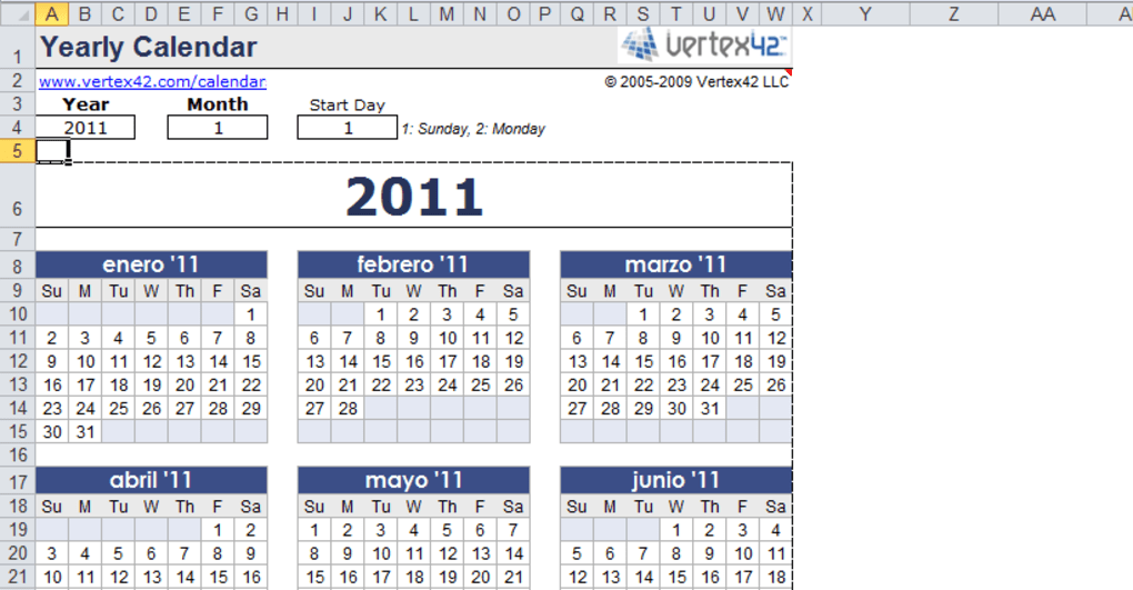 Calendario In Excel 2020.Plantilla De Calendario Anual En Excel Descargar