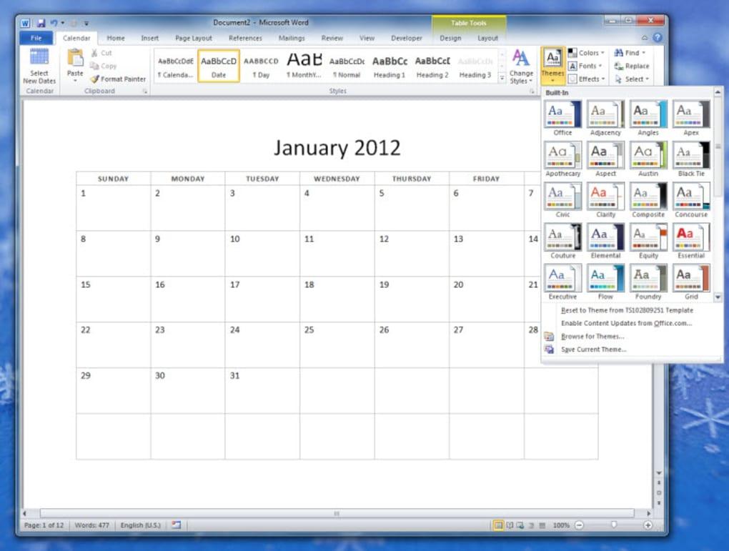 2012 12 month basic calendar download