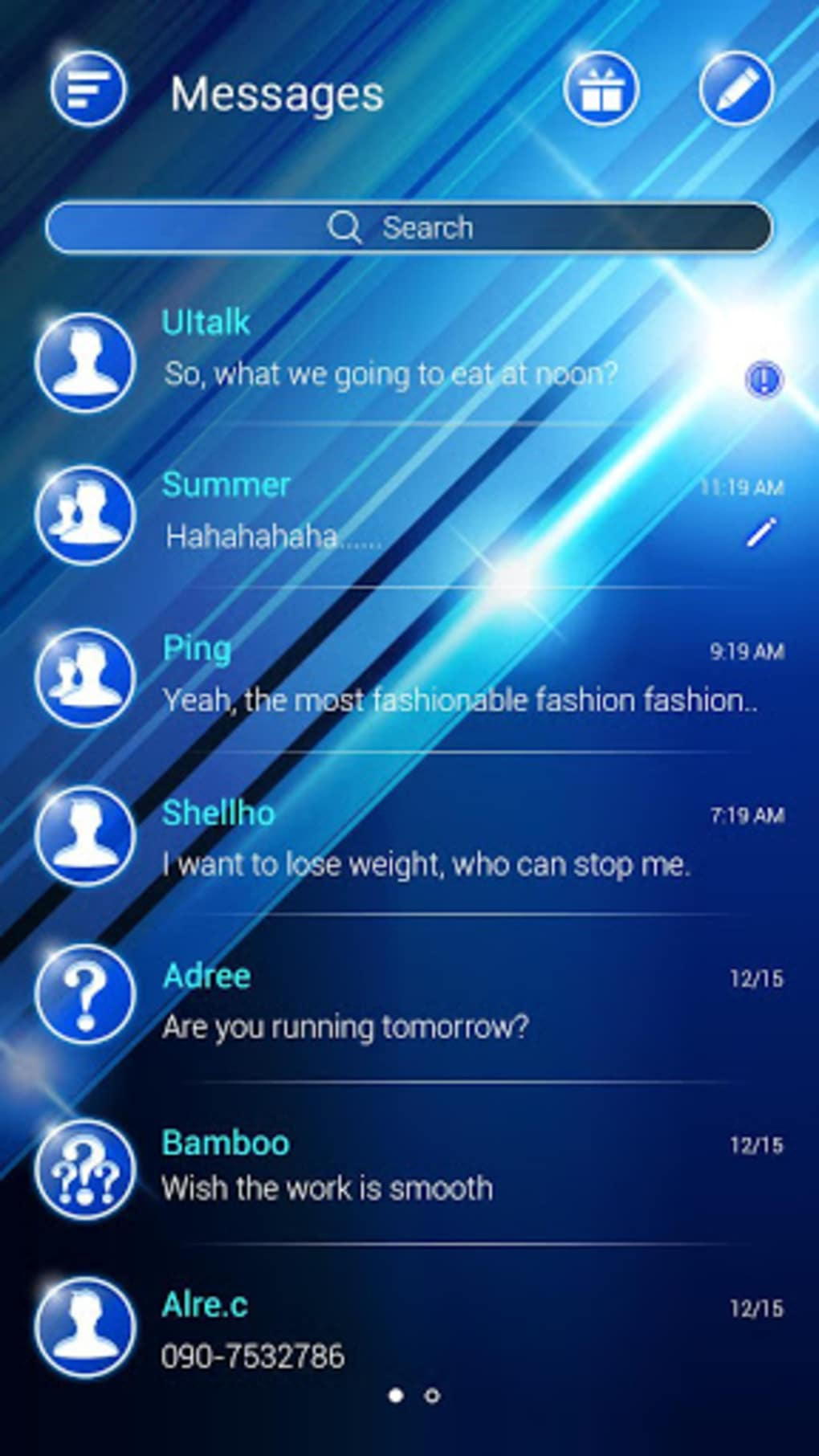 free) go sms glare theme for android - download