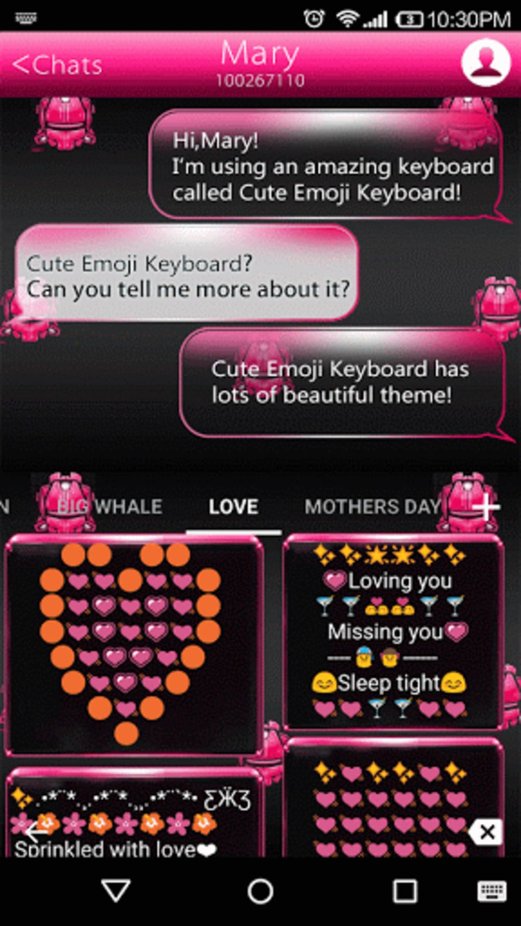 Pink Neon Emoji Keyboard Theme para Android - Descargar