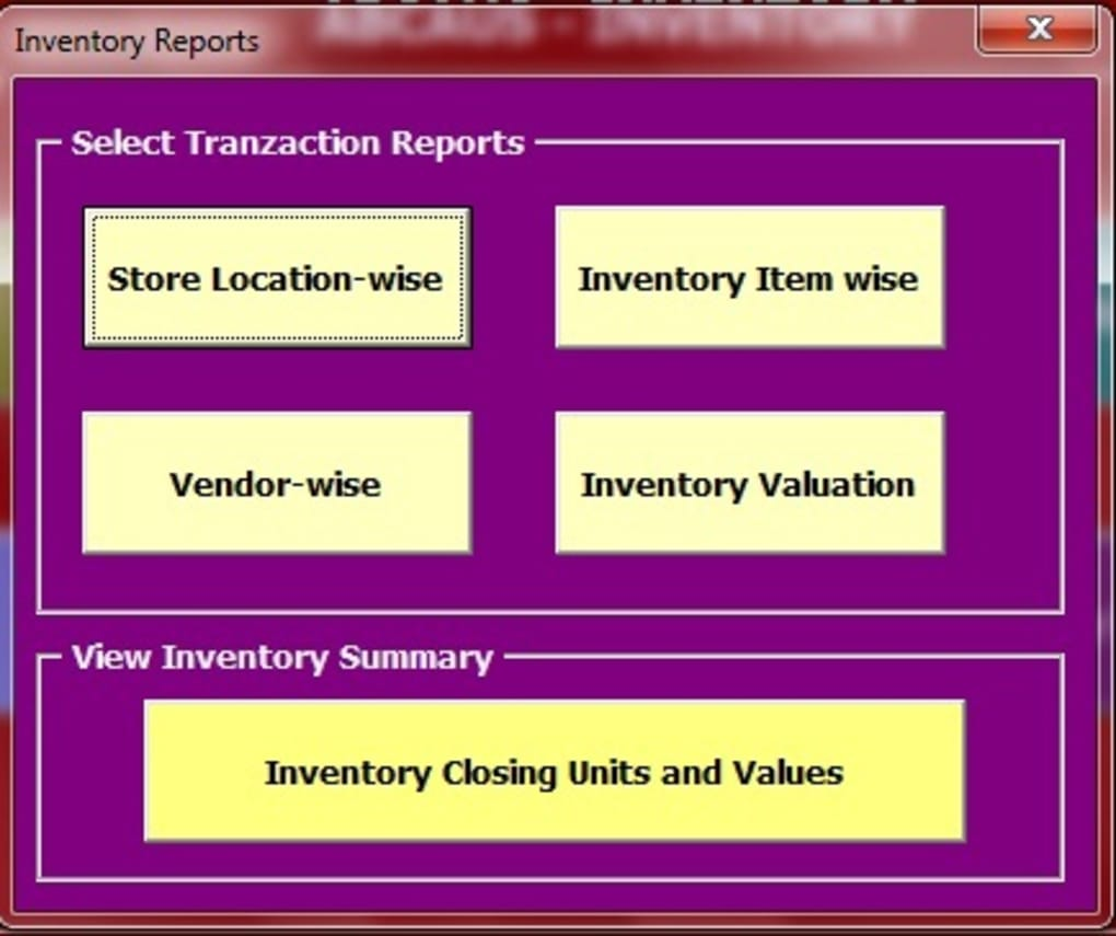 inventory software in excel