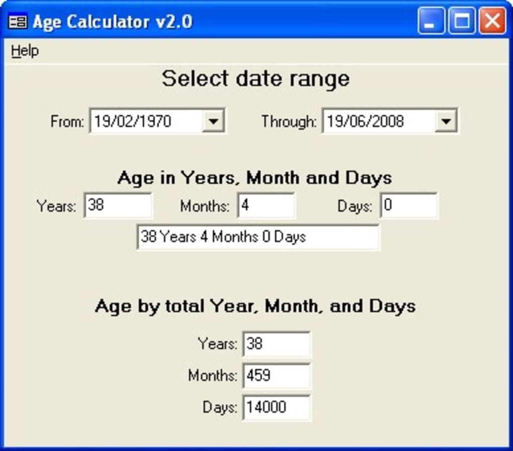 Download age calculator 2. 0.