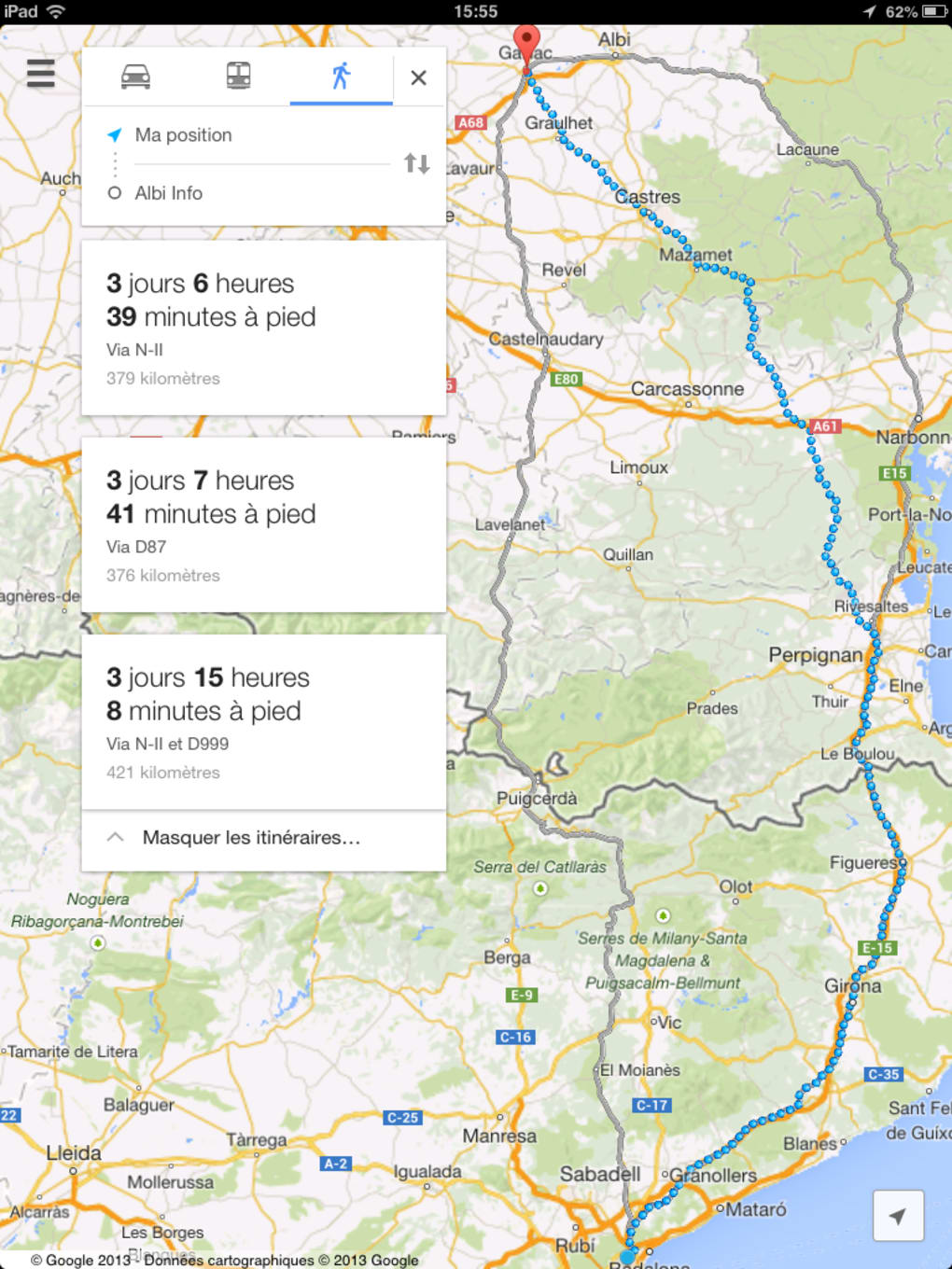 maps itineraire a pied