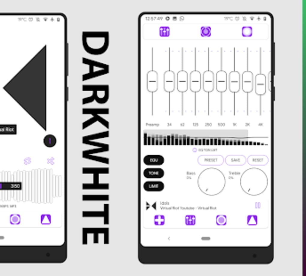 Darkwhite PowerAmp v3 Skin for Android - Download