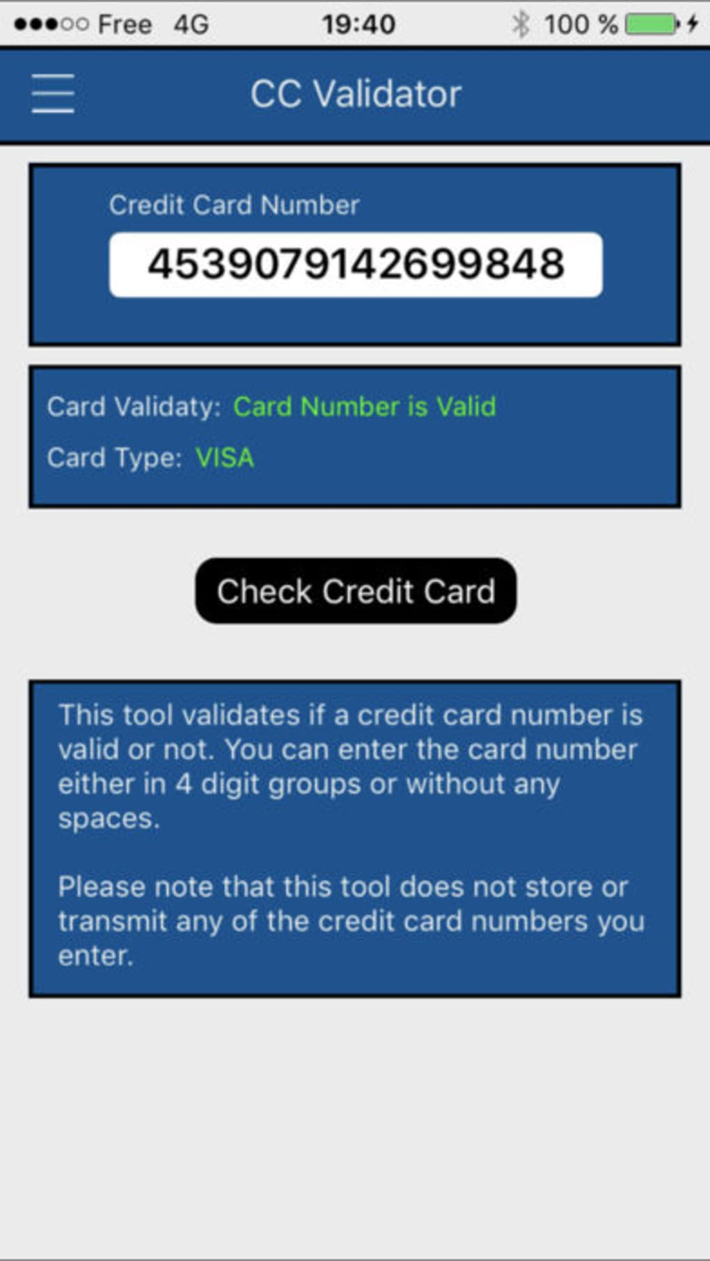BIN - Credit Card Checker for iPhone - Download