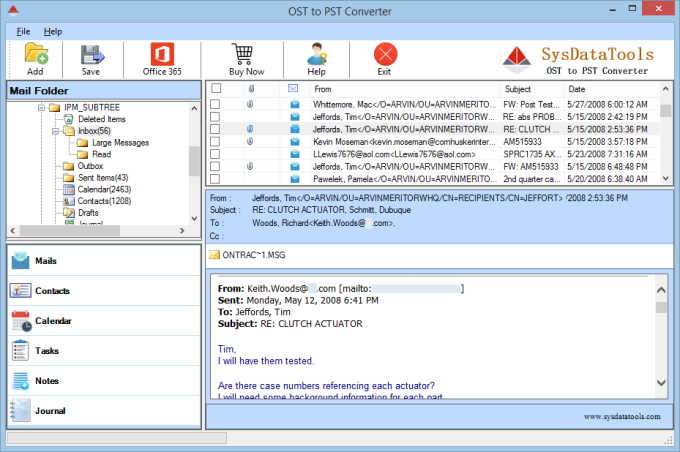 SysData OST to PST