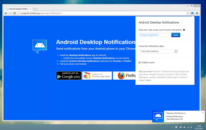 Android Desktop Notification