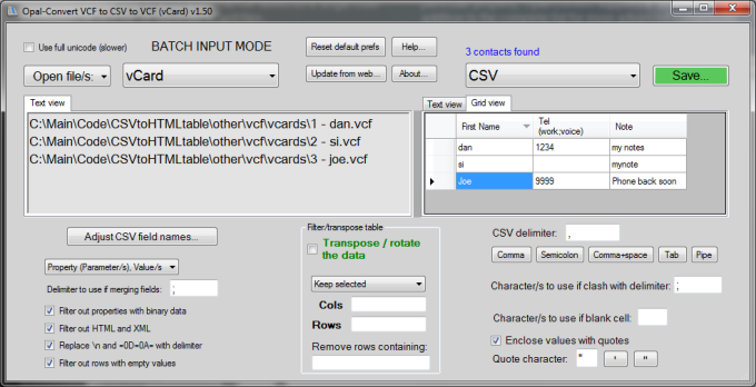 Opal-Convert Excel to vCard to Excel
