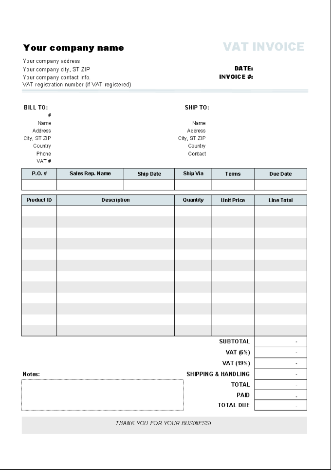 Invoice Template with Two VAT Tax Rates