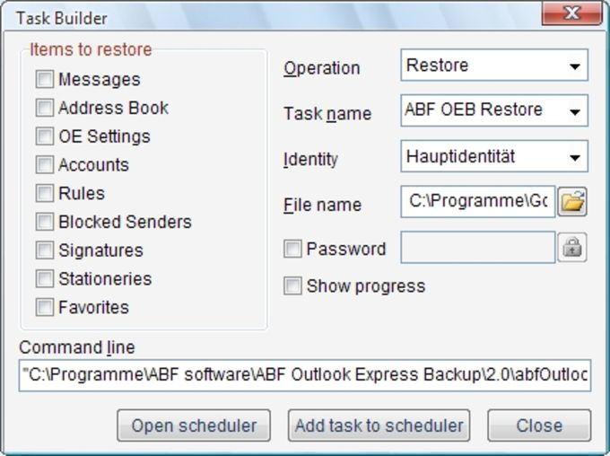 ABF Outlook Express Backup