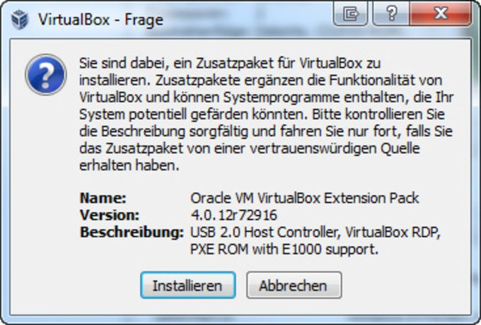 VirtualBox Extension Pack