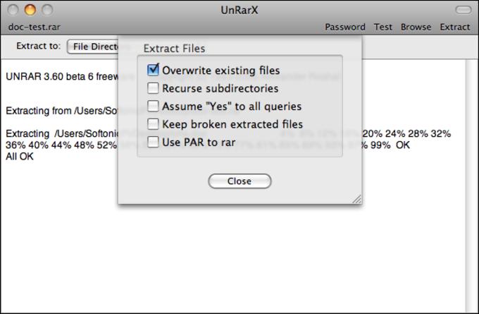 unRarX na Mac - Download