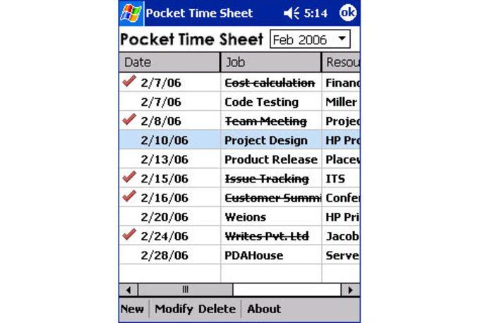 Pocket Time Sheet