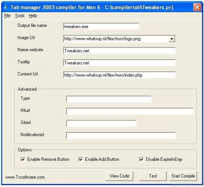 Tab Manager 2003 Compiler for MSN 6.0