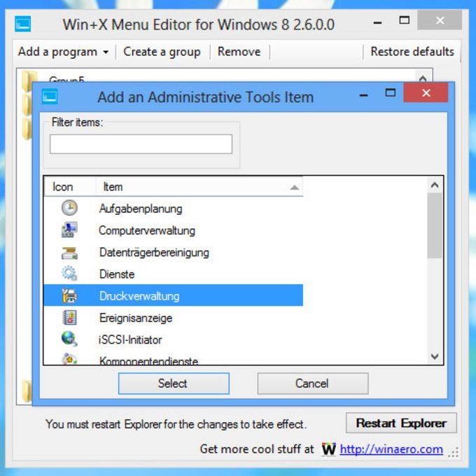 Win+X Menu Editor für Windows 10
