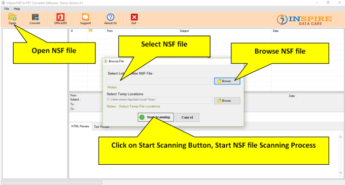 Inspire NSF To PST Converter Software