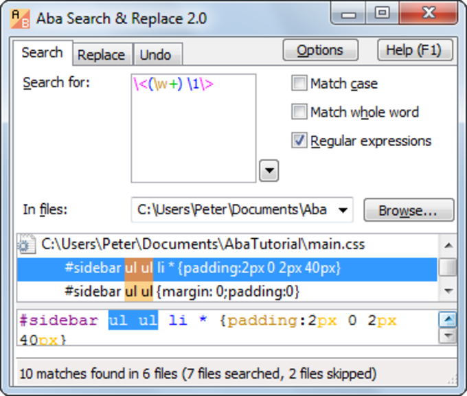 Aba Search and Replace