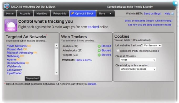 Targeted Advertising Cookie Opt-Out (TACO)