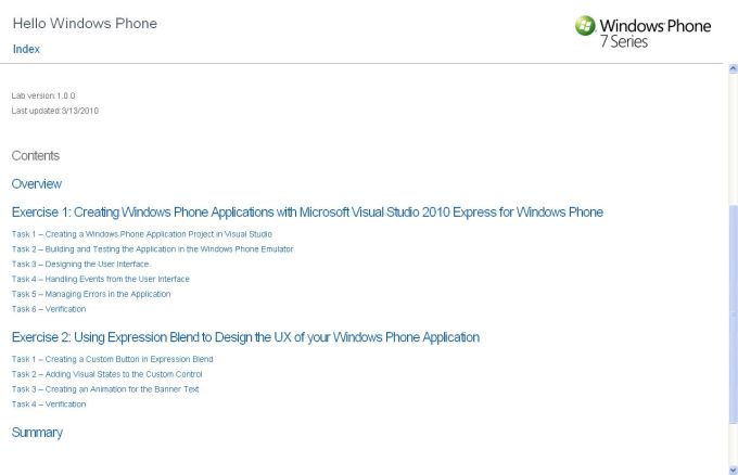 Windows Phone 7 Developer Training Kit