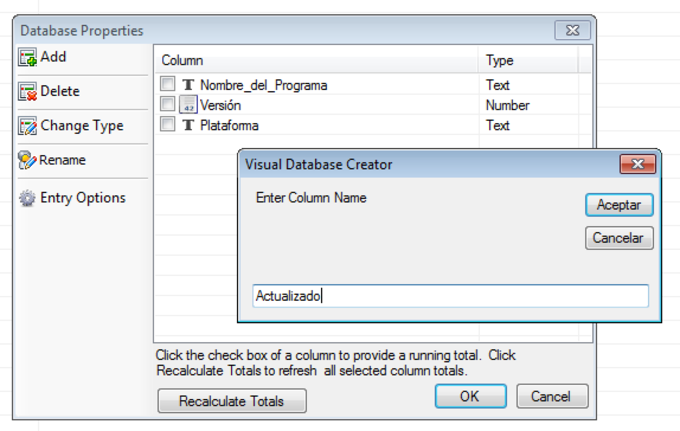 Visual Database Creator