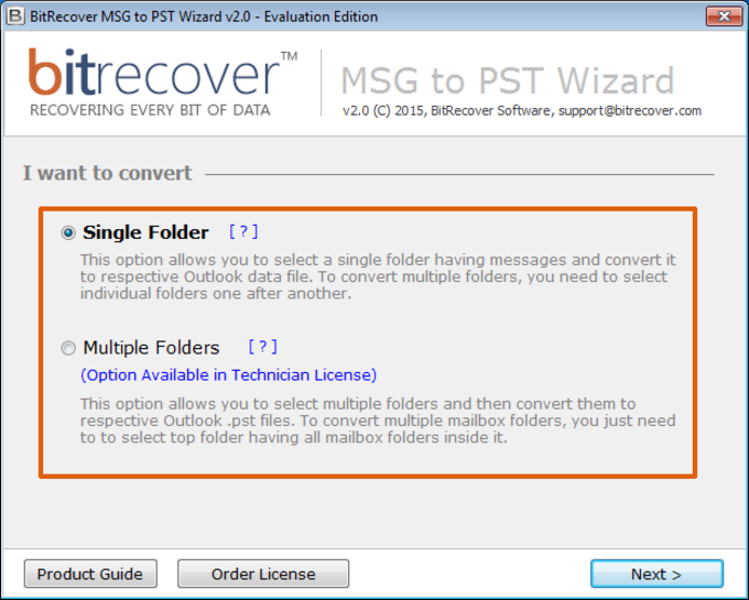 BitRecover MSG to PST Wizard