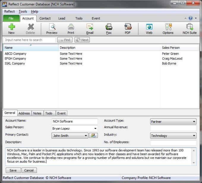 Reflect Free CRM Customer Database
