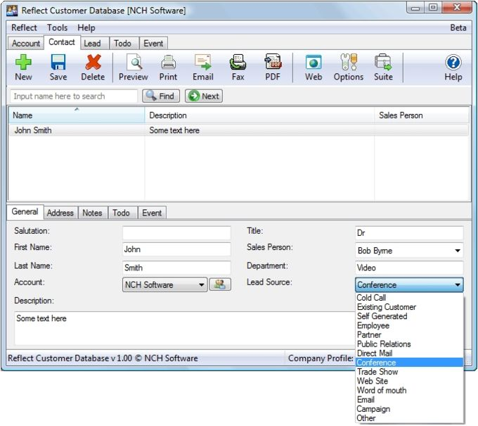 Reflect Free CRM Customer Database