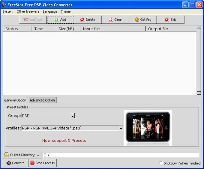 FreeStar Free PSP Video Converter