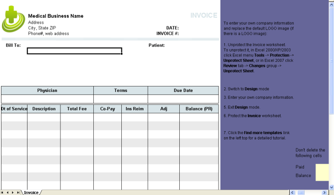 medical invoice template download