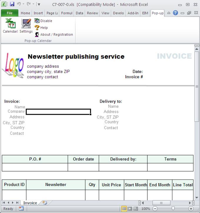 Newsletter Publishing Invoice Template