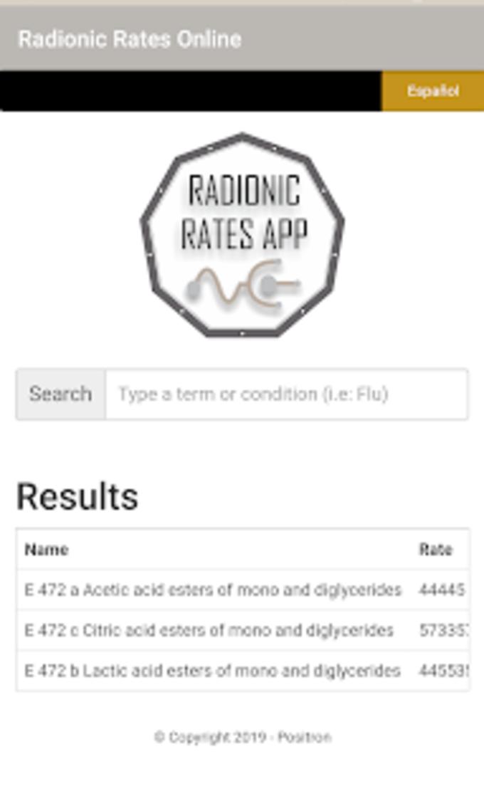 Radionic Rates Online
