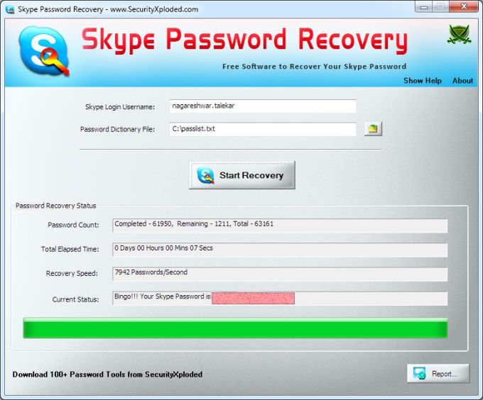 Skype Password Recovery