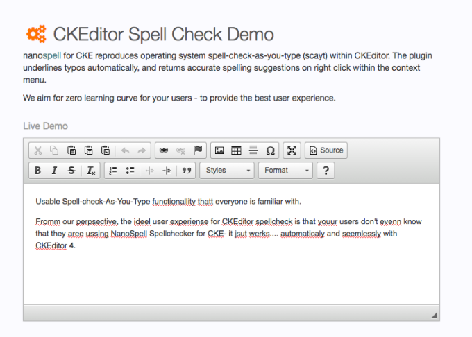Ckeditor Spell Check Demo