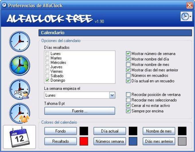 AlfaClock Idioma Español
