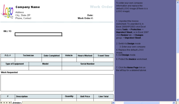 Work Order Template - Download