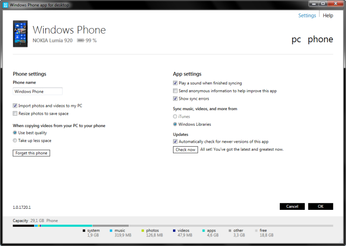 Windows Phone-Desktopanwendung