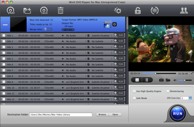 WinX DVD Ripper for Mac