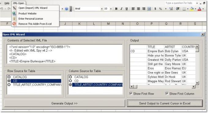 Excel XML Open & Import Software