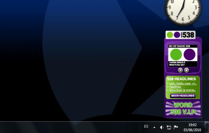 Radio 538 Windows Vista Gadget