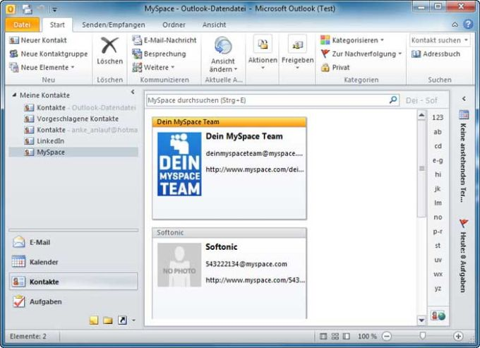 MySpace for Outlook