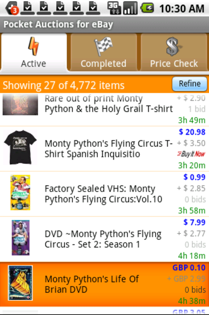 Pocket Auctions for eBay