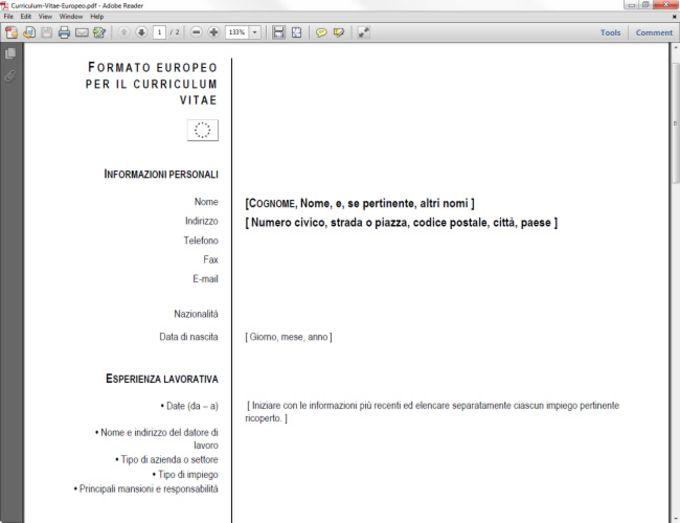curriculum vitae europeo in pdf