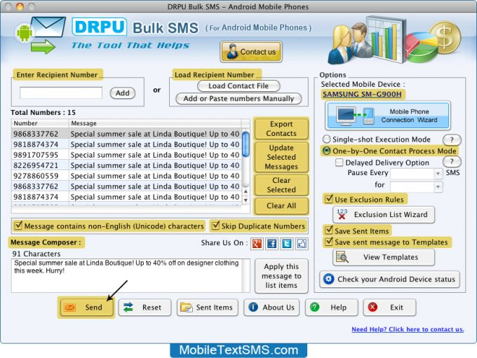 Android Mobile Text SMS Software for Mac