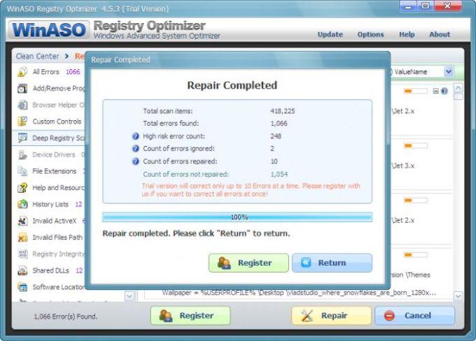 WinASO Registry Optimizer