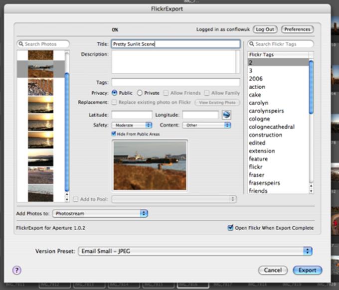 FlickrExport para Aperture