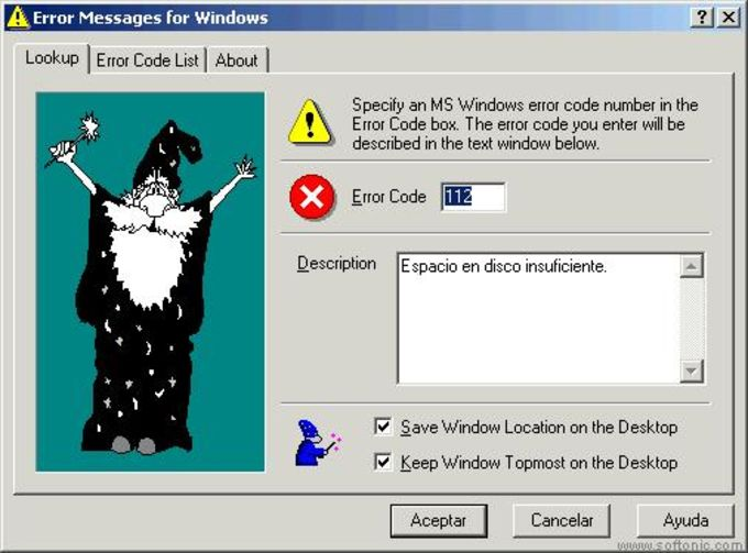 Error Messages for Windows
